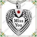 CMJ8469 Grabado Te extraño Pluma Corazón pet collar de Acero Inoxidable Joyería de Cremación urna Para Las Cenizas