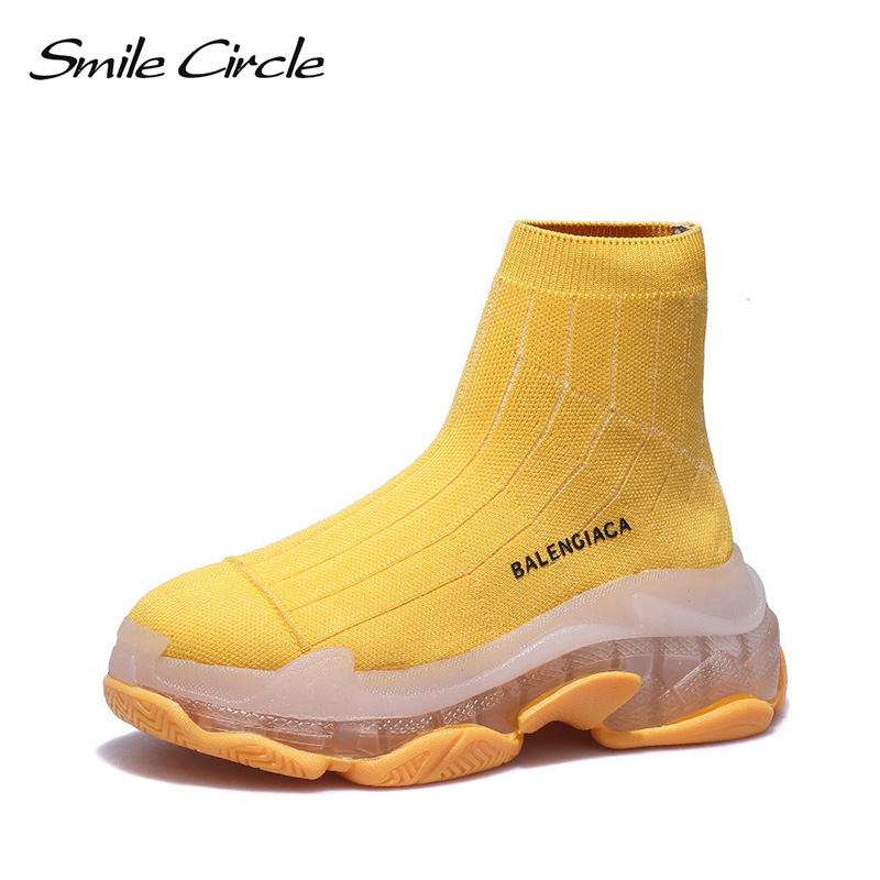Smile Circle 2019 spring slip on knitting Sneaker for women High top sock shoes high quality
