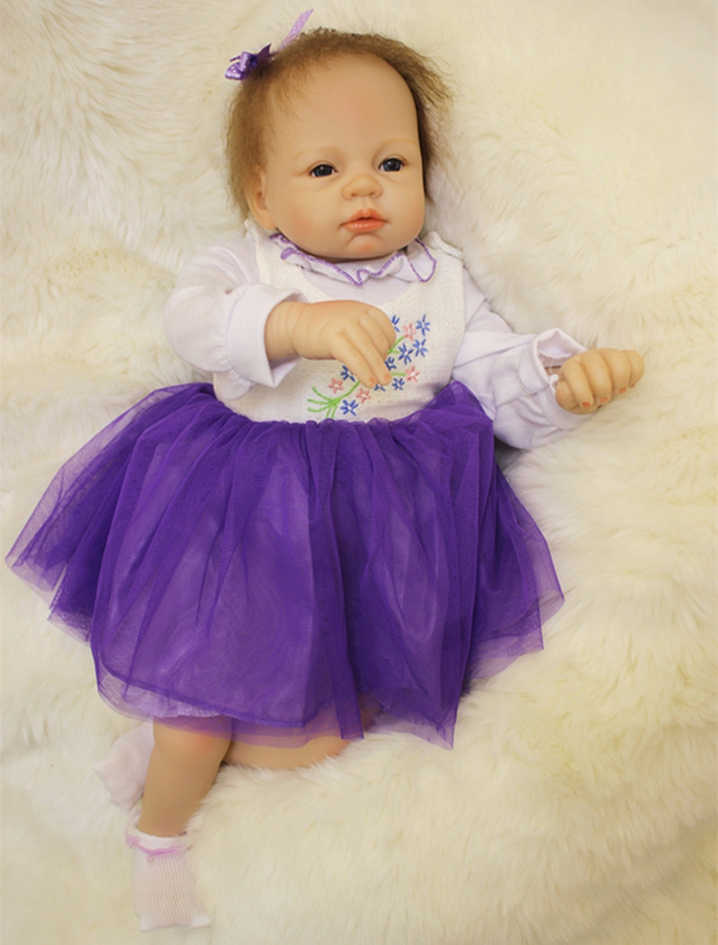 22 Inches 55CM Lovely Silicone Reborn Baby Dolls Realistic Hobbies Handmade Baby Alive Doll For Girls Safe Brinquedos Juguetes