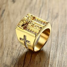 ZORCVENS Gold Punk Jesus Christ Cross Chunky แหวนผู้ชายสแตน(China)