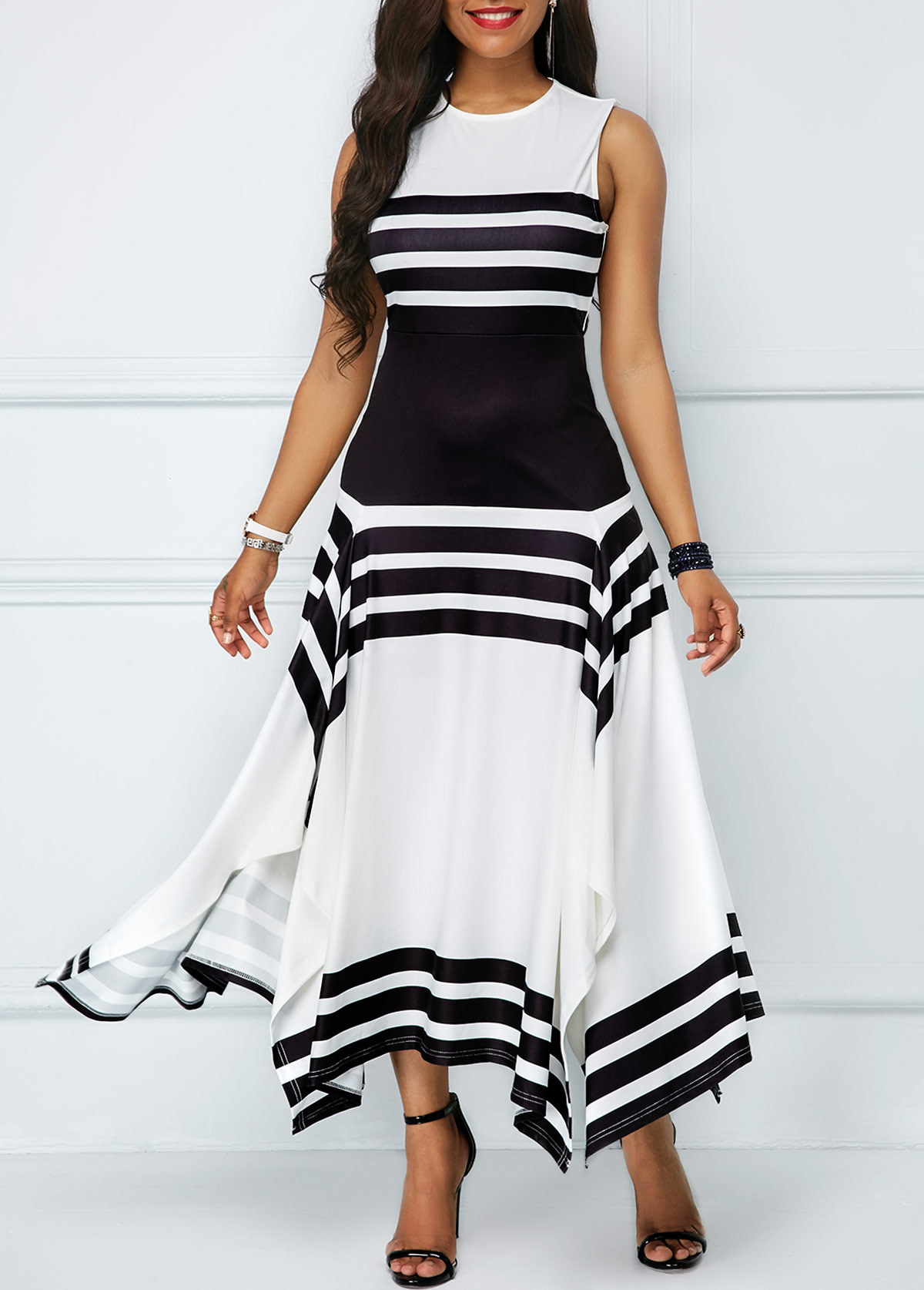 New Women Sleeve Less O-neck Black White Stripes Irregular Hem A-line Long Maxi Dress Fashion Casual Vestidos 2 Colors A6077