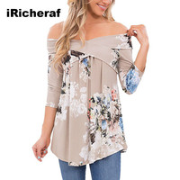 IRicheraf Women Floral Print T Shirt Fashion Sexy Slash Neck Off Shoulder Casual Lady Female T