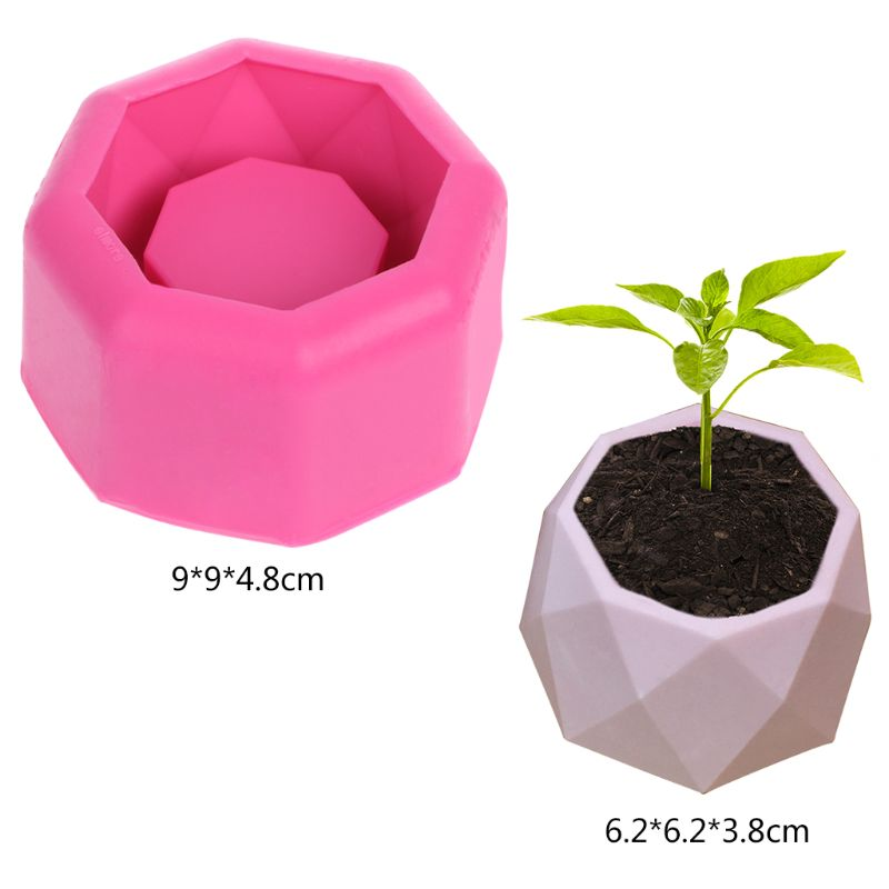 Handmade Geometric Silicone <font><b>Flower</b></font> Pot <font><b>Mold</b></font> Succulent Planter <font><b>Vase</b></font> Craft Home Decor image