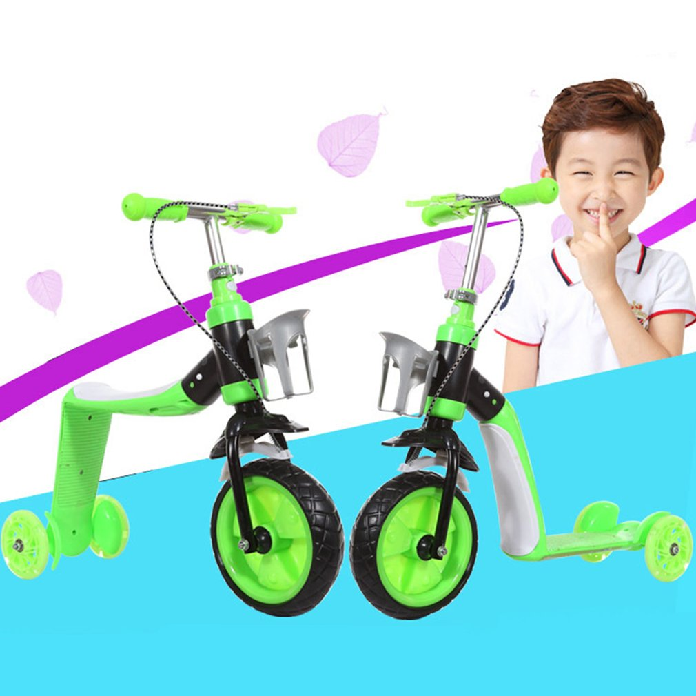 Children Scooter Three Wheels Slide Two In One Child Sliding Vehicle With Bottle Holder Adjustable Height Large Front Tyre fred blunt one two three