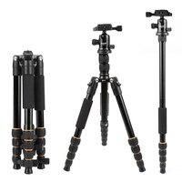 Lightweight Portable Q666 Q666C Professional Travel Camera Tripod aluminum/Carbon Fiber tripod Head for digital SLR DSLR camera
