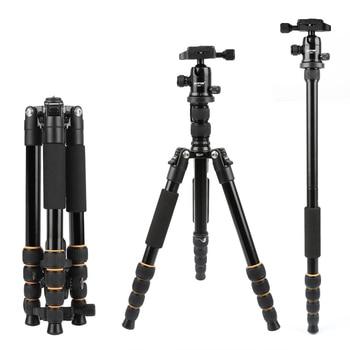 Lightweight Portable Q666 Q666C Professional Travel Camera Tripod aluminumCarbon Fiber tripod Head for digital SLR DSLR camera Маникюр