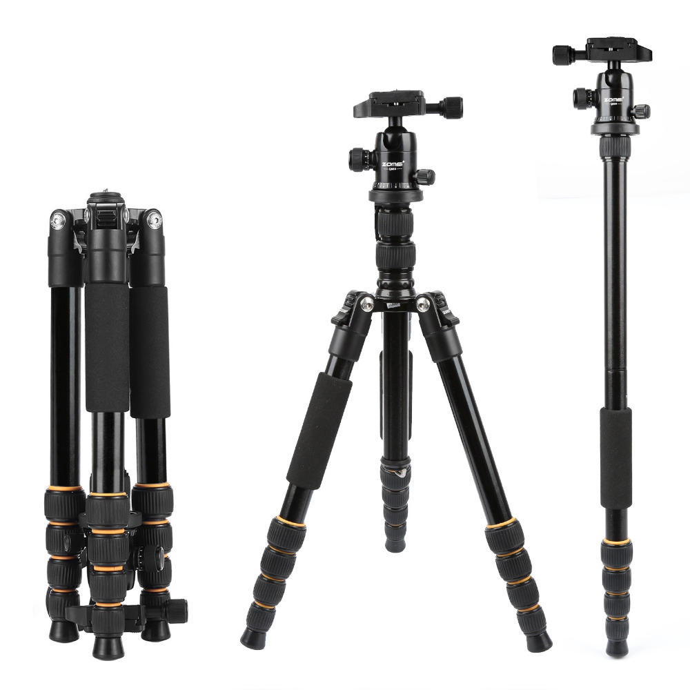 ZOMEI Lightweight Portable Q666 Professional Travel Camera Tripod Tripode Aluminum Tripod Head Monopod For Digital DSLR Camera