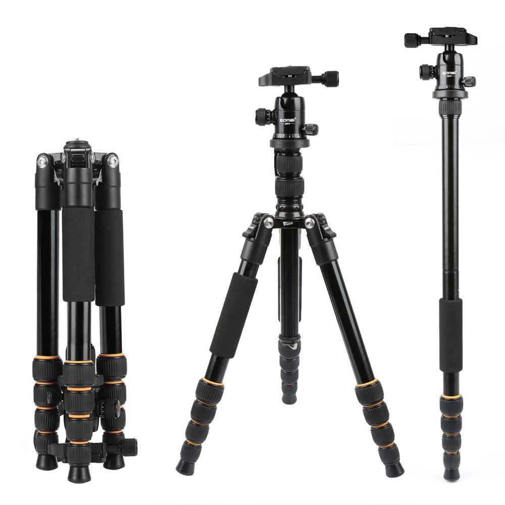 ZOMEI легкий портативный Q666 Профессиональный Трипод для путешествий с алюминиевой головкой монопод для цифровой DSLR камеры
