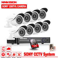 1080P Video Surveillance System 8CH CCTV Security Kit 8PCS 1080P Security Camera Super Night Vision 8