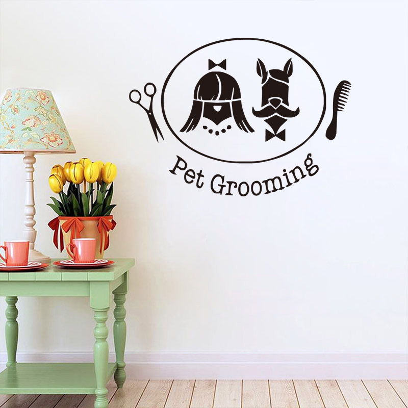 Pet Grooming Wall Decal Vinyl Stickers Pet Shop Interior Pet Salon Design Art Murals Bedroom Decor