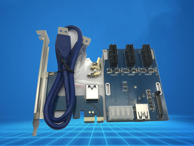 PCI-e Express 1X To 3 Port PCI Express 1X Slot Multiplier HUB Riser Adapter Card w/ SATA 15pin & 4pin Power Supply USB 3.0 Cable new usb 3 0 pci e expansion card adapter external 2 port usb3 0 hub internal 19pin header pci e card 4pin ide power connector
