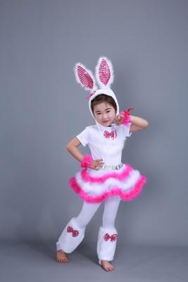 Детский костюм с милым кроликом платье для танцев платье для костюмированной вечеринки с кроликом для взрослых девочек 100-160 см(S-3XL - Цвет: girls short sleeve