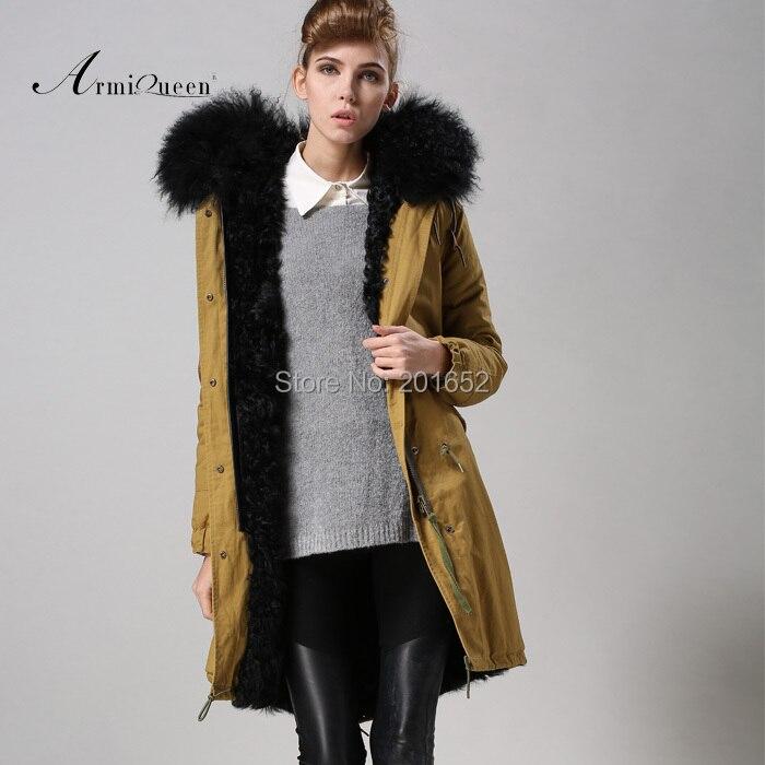 Warm Winter Coat Hooded Outerwear Wool Fur Lining Jackets Fur Womens Parka Overcoat Mujer Casaco