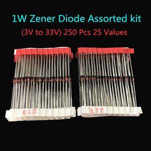 Набор диодов Zener, 250 шт., 25 значений, 1 Вт, 3 в-33 в