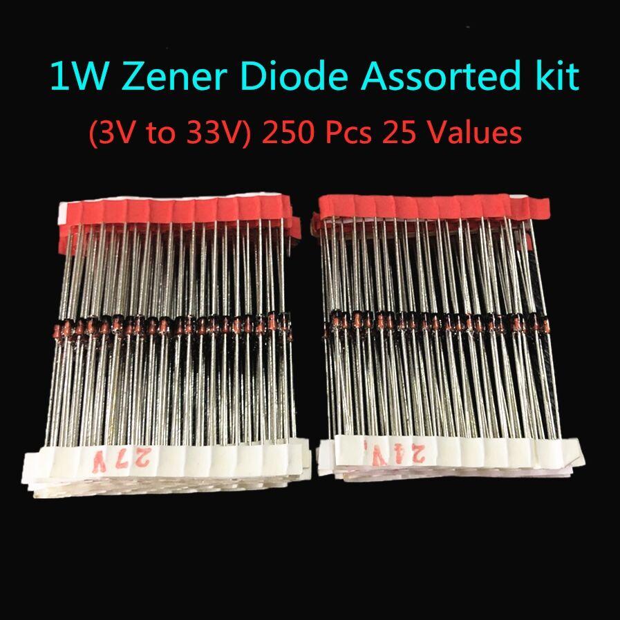 1W 3V à 33 V) 250 pièces 25 Valeurs 1W Zener Diode kit Assorti Assortiment Ensemble Nouveau