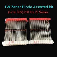 1W (3V para 33 V) 250 Pcs 25 Valores 1W Diodo Zener Assorted kit Sortido Set Novo
