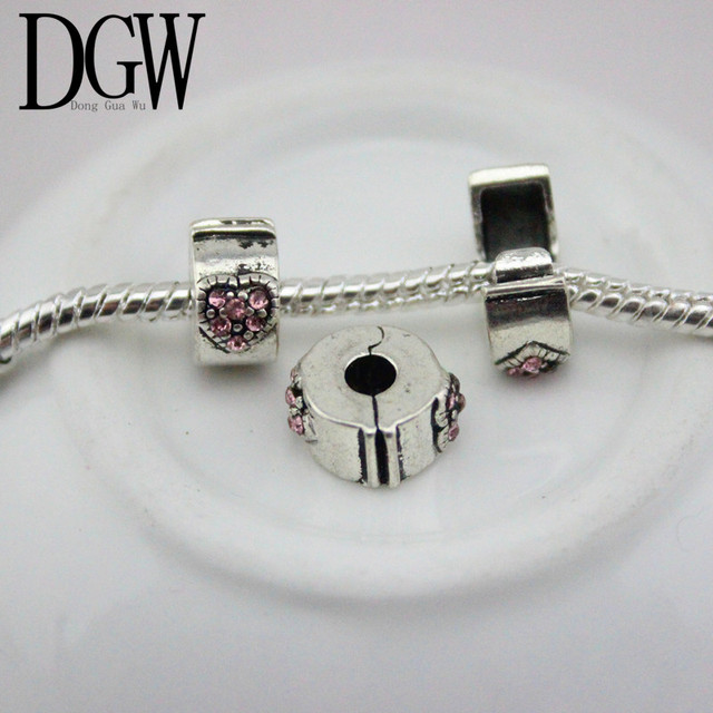 Dgw 1pc Free Shipping Fits Pandora Charms Bracelets Safety Bead Clip Stopper Star Pattern European Charm