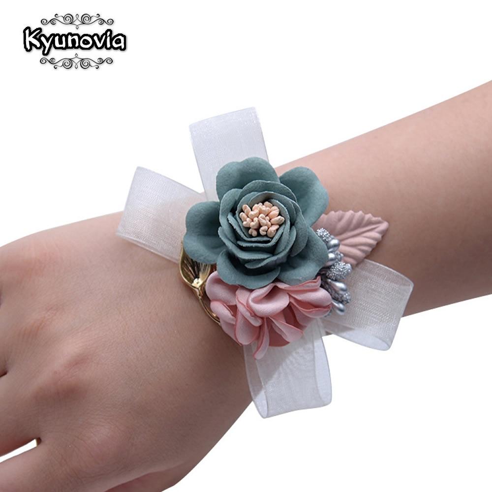 Kyunovia Sisters Prom Silk Flower Bracelet Satin Flower Wedding