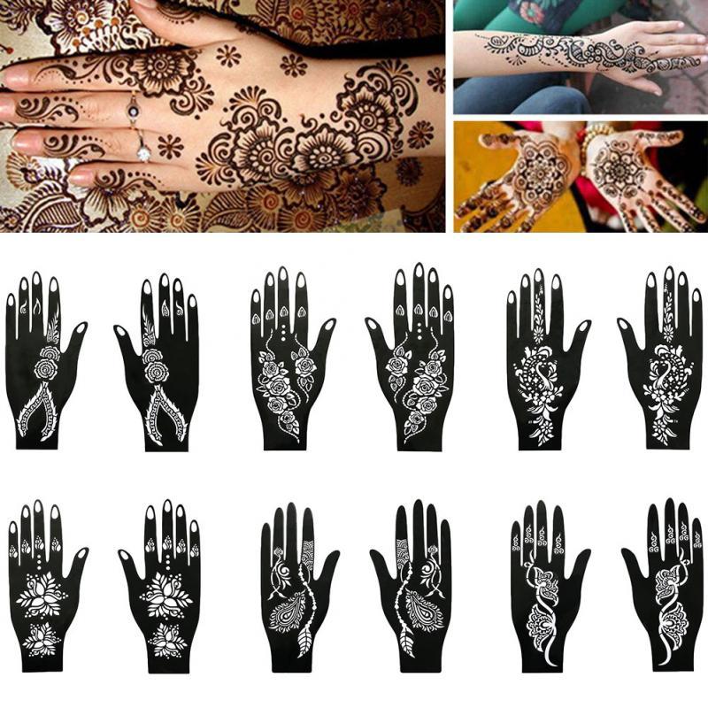 Tattoo Templates Hands/Feet India Henna Temporary Tattoo Stencils Kit For Hand Arm Leg Feet Body Art Decal Body Pai