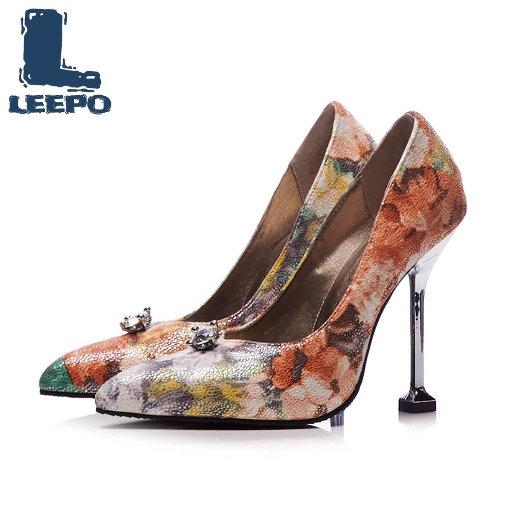 wholesale dealer fa186 61511 US $25.39 42% OFF|LEEPO Women Shoes High Heels Fenty Beauty Handmade Thin  Heels Ladies Multicolor Stilettos Big Size Woman Silver Sexy Party Pumps-in  ...