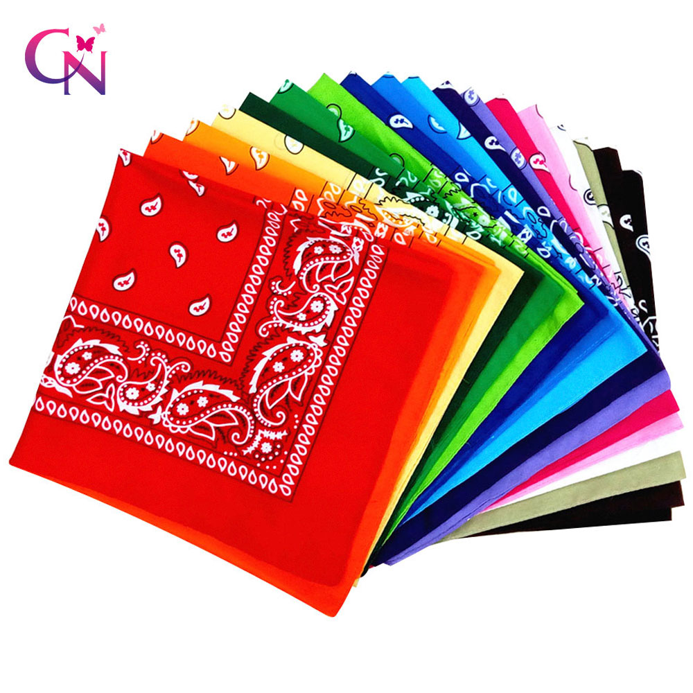 2019 Women Cotton Paisley Bandana Fashion Scarf Square Female Bandanas Headwear Rock Cool Girls Multi Headbands Hair Accessories
