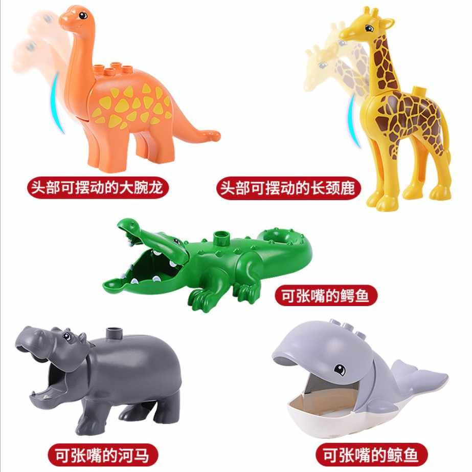 Jardim zoológico animal dinossauro blocos de construção original clássico tijolos acessório crianças brinquedos compatíveis com duplo panda elefante