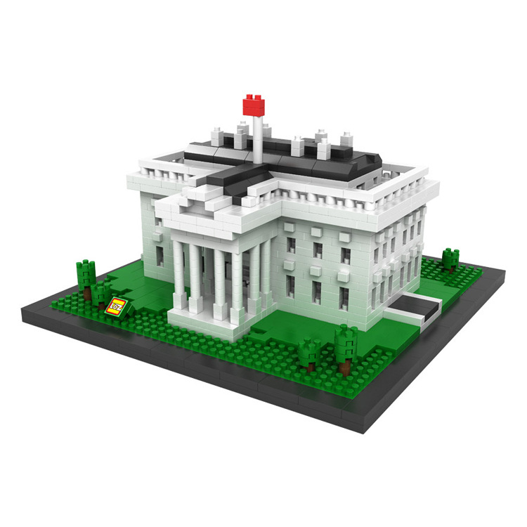 LOZ World famous architecture mini diamond block Office of the President White House Washington USA nanoblock model brick toys loz architecture famous architecture building block toys diamond blocks diy building mini micro blocks tower house brick street