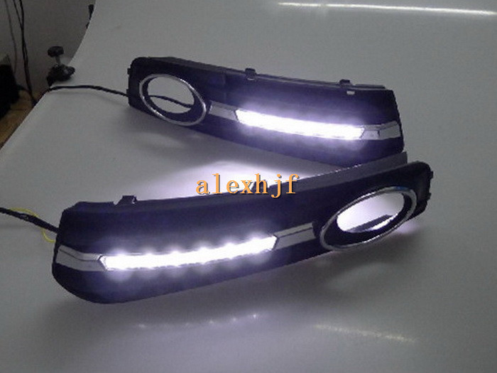 July King LED Daytime Running Lights DRL With Fog Lamp Cover, LED Fog Lamp Case for Audi A4L 2009~2012 1:1 Replacement ,B-type july king led daytime running lights drl with fog lamp cover case for chevrolet malibu 2012 15 1 1 replacement free shipping