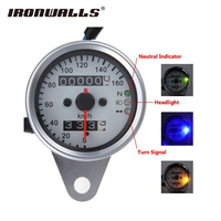 Ironwalls Motorcycle Speedometer LED Dual Odometer Gauge Backlight Signal Light Universal For Honda Yamaha Cafe Racer