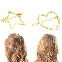 Women New Arrival 1Pc Golden Sweet Korean Star and Heart Hair Clip Hairpin