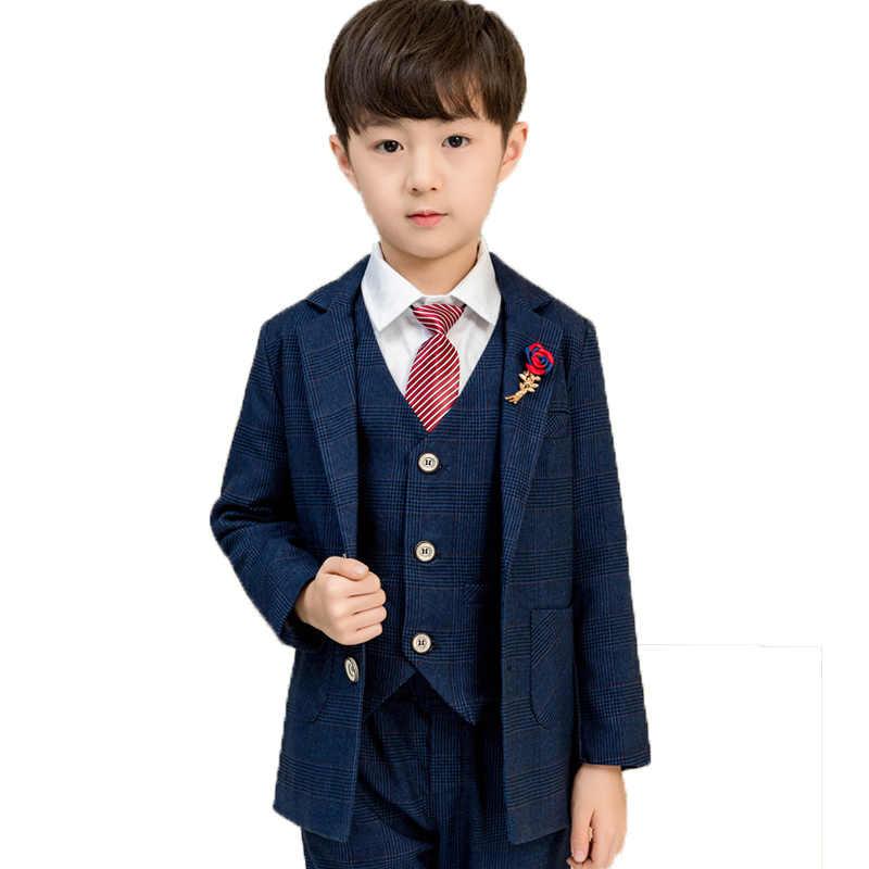 Projektant dzieci garnitury na wesela kwiat chłopcy oficjalne garnitury dzieci marynarka kamizelka spodnie Tie 4 sztuk Birthday Party odzież zestawy