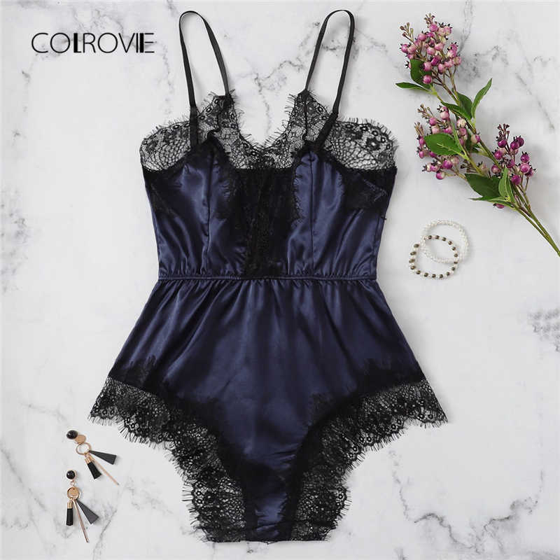 15ce22b5e5 COLROVIE Navy Solid Lace Trim Satin Romper Lingerie Teddy Bodysuit Women  2018 Pink Pajama Lounge Onesie