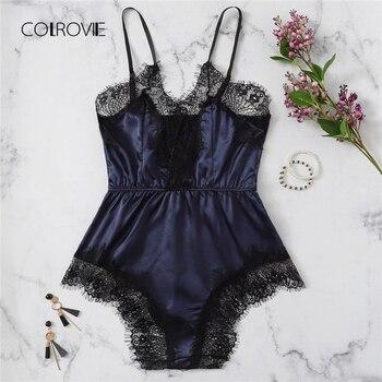 c3384b1e34 COLROVIE azul marino de encaje satén mameluco ropa de mono de las mujeres  Rosa pijama salón mono Sexy ropa de dormir ropa de una pieza