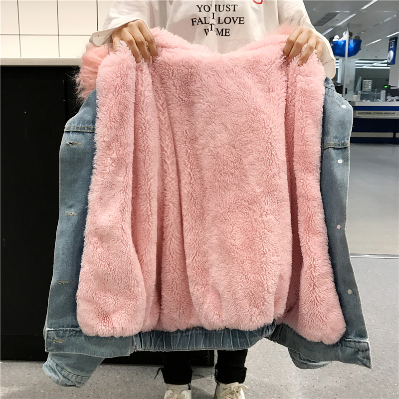 2019 Winter Fur Hooded Denim Jacket For Women Thick Lamb Fur Winter Female Parka Winter Jean Jacket Coat chaquetas mujer coat