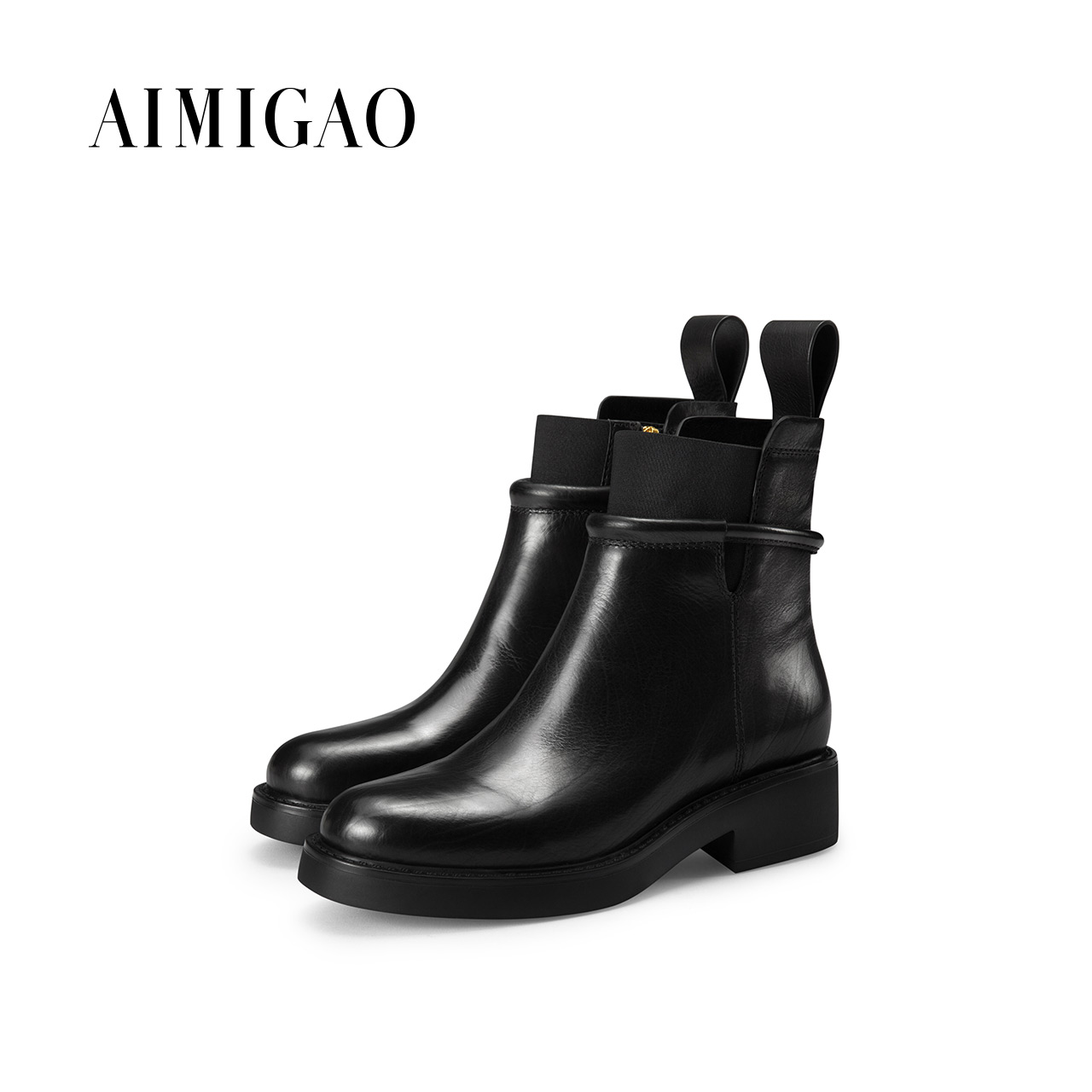 где купить AIMIGAO genuine leather platform women boots 2017 winter new round toe square heel Martin boots female side zipper ankle boots по лучшей цене