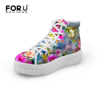 Size 35 41 Women Casual Shoes Flat Female Creepers Shoes Round Toe Floral Style Platform Shoes