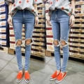 Women New 2015 Fashion Jeans High Quality Top Fashion Ripped Knee Holes Mid Waist Women Slim Skinny Pencil Jeans Free Shipping