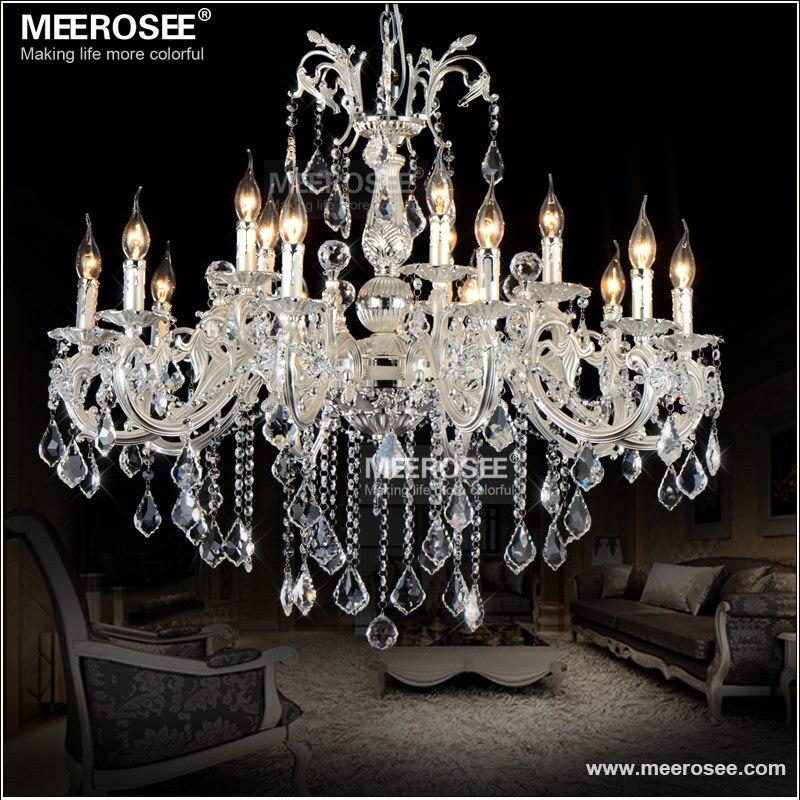 15 lumières couleur argent Cristal Lustre lampe grand Cristal Lustre luminaire 2 niveaux hôtel Villa Cristal éclairage