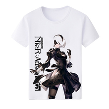 New Nier: Automata 2B Casual T-shirt Summer Men Women White O-Neck Milk Babric Tops Unisex Short sleeve T shirts Casual Tees