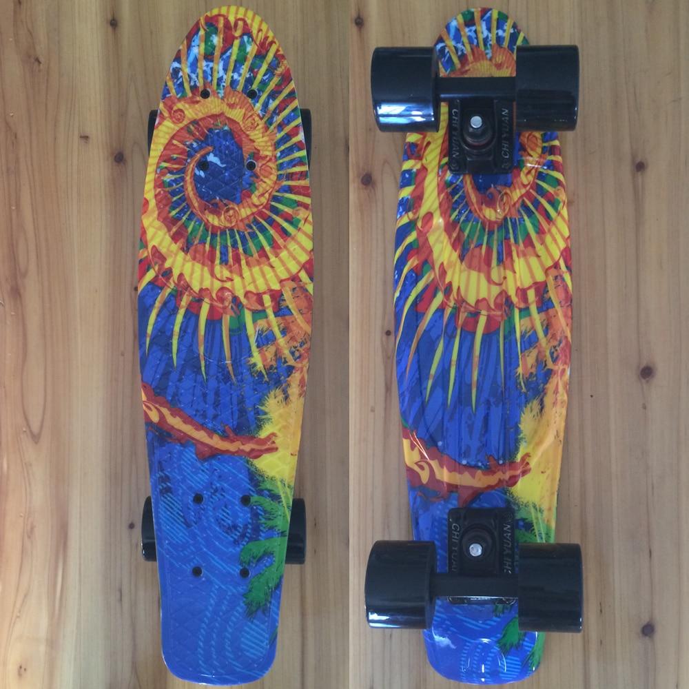 CHI YUAN Mini Cruiser Board Plastic Skateboard Graphic Printed 22 X 6 Retro Longboard Skate Long Board Twister 2016 new peny board skateboard complete retro girl boy cruiser mini longboard skate fish long board skate wheel pnny board 22