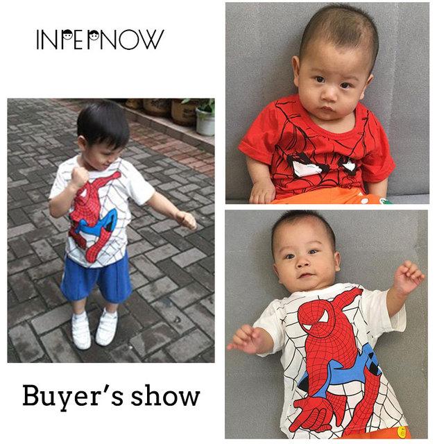 INPEPNOW Spiderman Boys T Shirt Tshirt Kids Short Sleeves Super Hero Cartoon T-Shirts for Girls Children Clothing Girls DX-LXD1