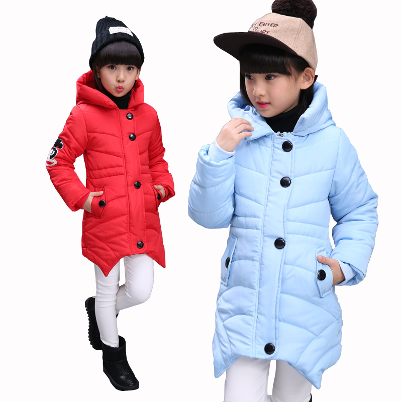 2017 Winter Girls Warm Jacket Kids Long Style Hooded Coat Children Plus Velvet Cotton Jacket Girl Thick Cotton Padded Outwear winter new fashion women coat leisure big yards thick warm cotton cotton coat hooded pure color slim fur collar jacket g2309