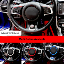 цена на Car Steering Wheel Center Emblem sticker Decorative Ring cover for Jaguar XF XE s-type x-type f-pace XEL XFL S R sport logo trim