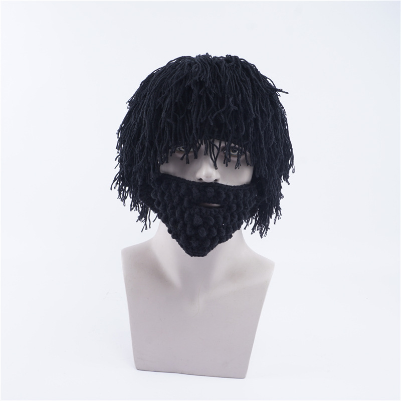 84c4e5823f4 Winter Novelty Wig Beard Hats Hobo Mad Scientist Rasta Caveman Knit Warm  Cap Men Women Christmas Gift Funny Party Mask Beanies-in Skullies   Beanies  from ...