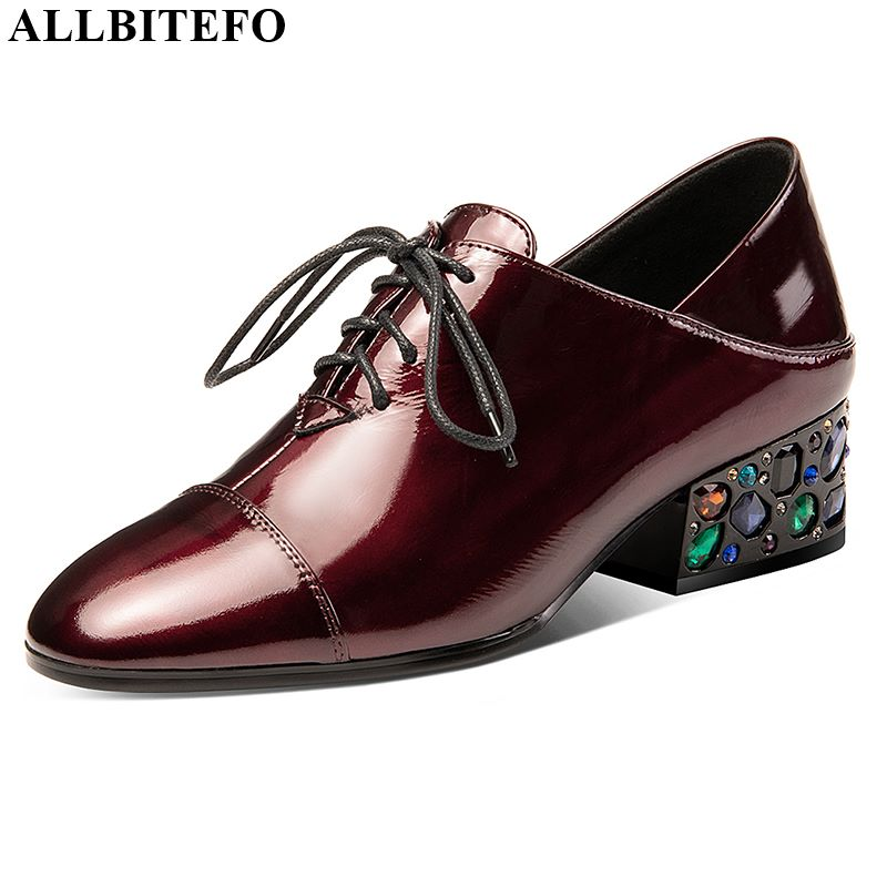 ALLBITEFO Genuine Leather Women Heels Water Drill Decoration High Heel Shoes Spring Autumn Sexy Ladies Fashion High Heels