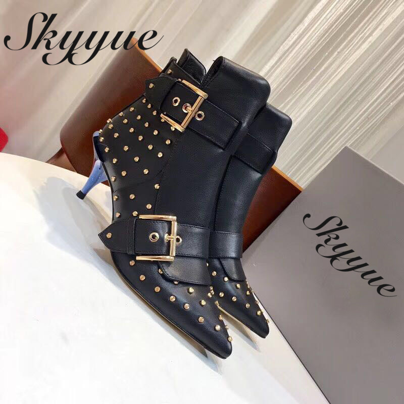 SKYYUE New Genuine Leather Metal Studded Women Punk Boots Sexy Pointed Toe Thin HIgh Heel Ankle Boots Shoes Women skyyue new genuine leather pointed toe women boots zip side thin high heel ankle boots shoes women