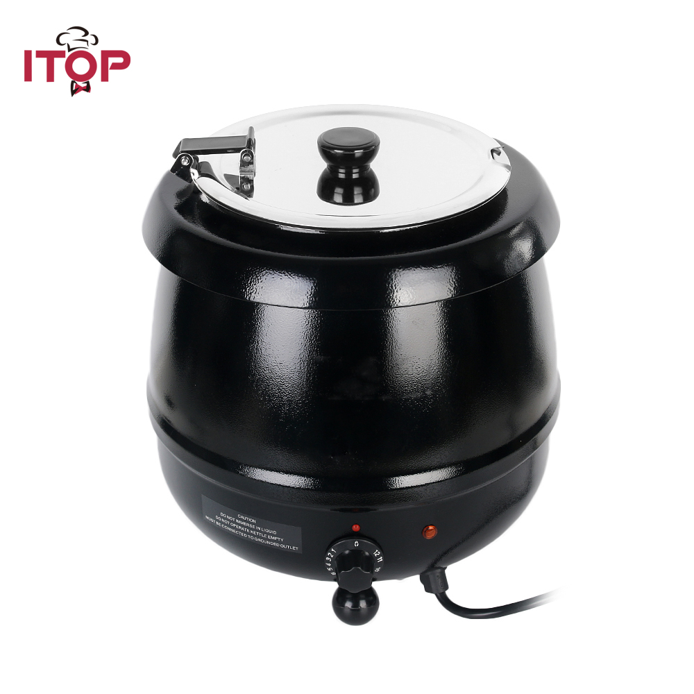 ITOP Commercial Electric Soup Kettle Warmer Stainless Steel 10Liter 110V/60Hz 220V/50Hz Wet Heat Food Cooker