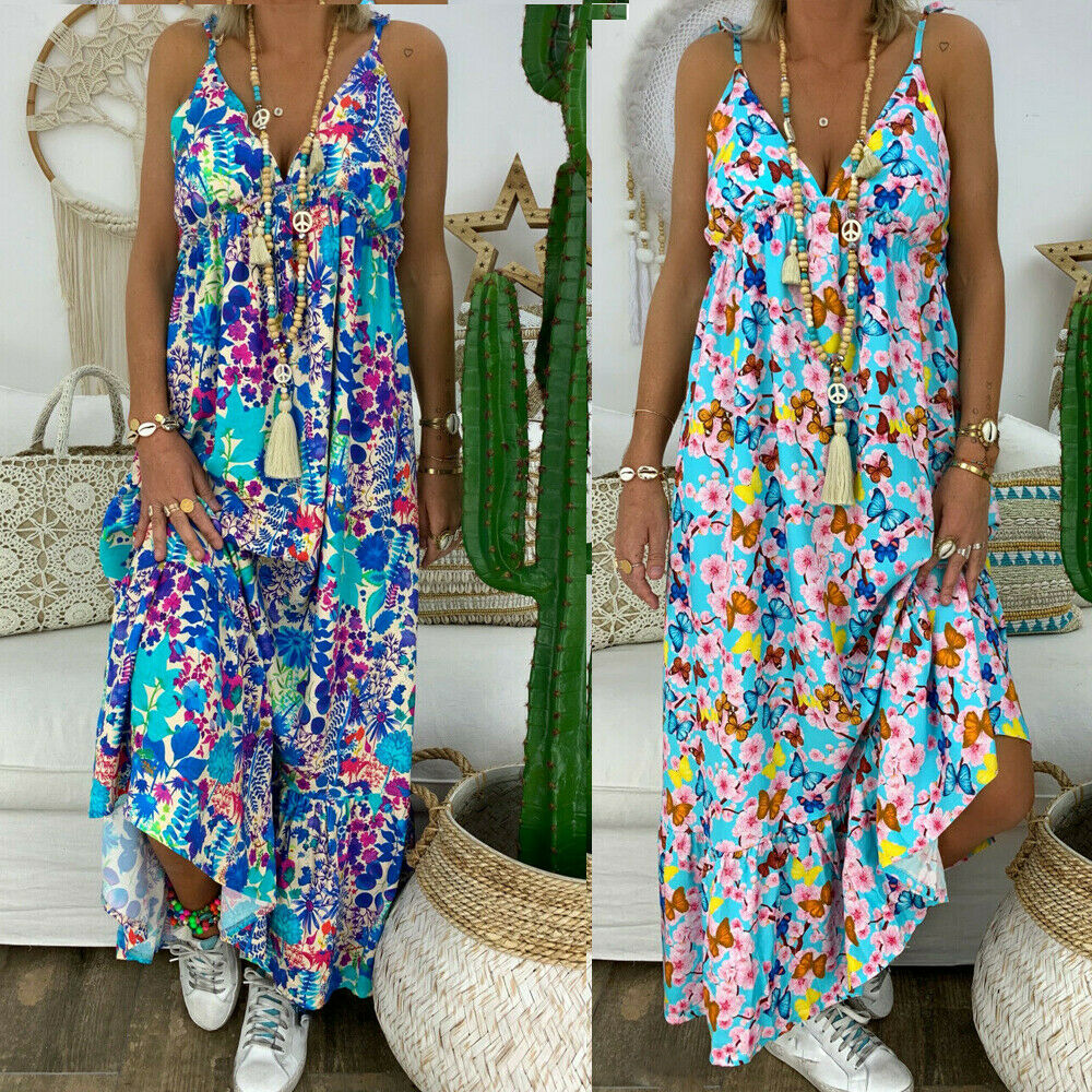 Plus Size Women Summer Beach Strappy V-neck Dress Boho Floral Sundress Holiday Fashion Flower Print Long Loose Sundress Clothes