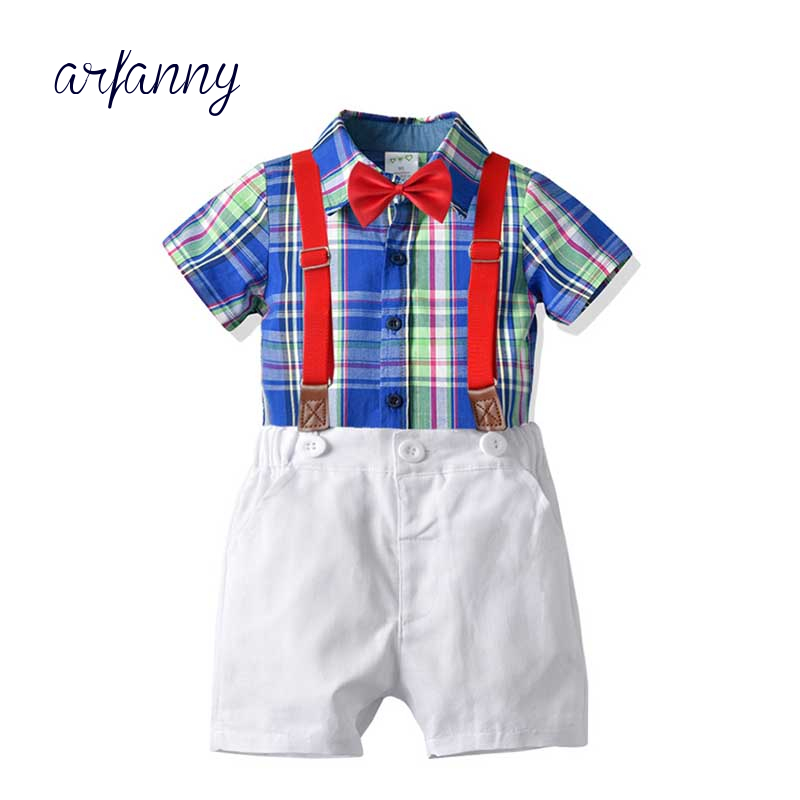 Boy summer clothes 1 5 years old children 39 s bow tie plaid shirt bib suit set new male baby gentleman bow tie shirt pants suit in Clothing Sets from Mother amp Kids