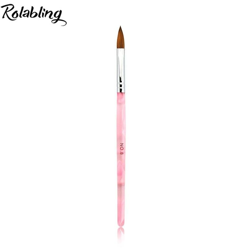 10 pçs/lote tamanho 8 # Kolinsky Escova Sable Acrílico Nail Art Pen Brushes Brushes Unhas de Gel Da Arte Do Prego Da Pintura Da Escova caneta
